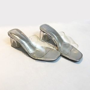 Slip On Silver And Clear Mules
